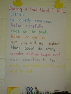 Read-aloud expectations. Have students brainstorm expected behaviors so that they have ownership in the rules. Maybe use Wallwisher and embed on my website. I will be doing this with all of my fixed library classes!