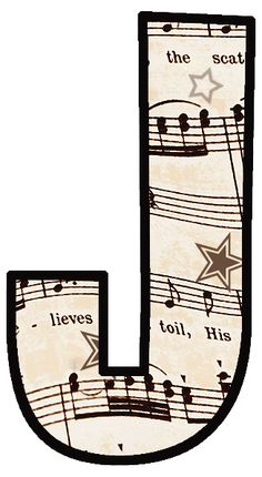 "ArtbyJean - Vintage Sheet Music Alphabet ""J"" Vintage Sheet Music, Vintage Sheets, Make Your Own Card, Music Paper, Letter J, Decoupage, Alphabet And Numbers, Alphabet Fonts, Alphabet Letters"