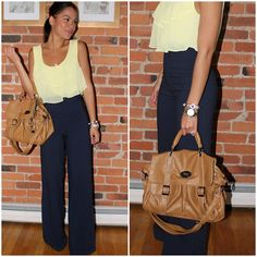 Cute! - layered light top great juxtaposition for the structured high waist sailor pant