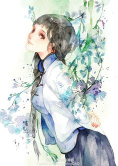 Beautiful Asian woman in watercolor.