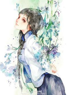 Beautiful Asian woman in watercolor.