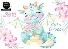 Illustration Girl, Digital Illustration, Mandala Doodle, Cute Fantasy Creatures, Party Invitations Kids, Girl Clipart, Cute Dragons, Cute Animal Drawings, Watercolor Animals