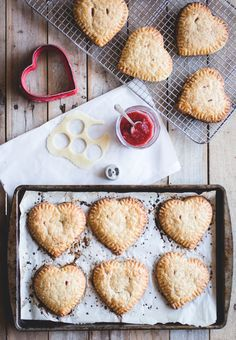 Heart-Shaped Strawberry + Marzipan Hand Pies -- the perfect Valentine's Day dessert for pie lovers who hate to make pie! // butterlustblog.com