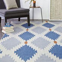 Phoenix Wool Dhurrie Rug - Regal Blue #westelm $209