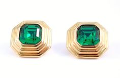 Swarovski Signed Green Rhinestone Earrings by VintageGemz on Etsy