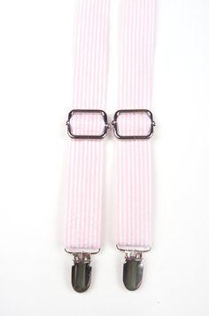 Light Pink Seersucker Suspenders, pink braces, pink suspenders, pink stripe suspenders, pink and white suspenders, boys pink suspenders, pink toddler suspenders, pink baby suspenders, ring boy suspenders. ring bearer outfit, pink ring bearer outfit.