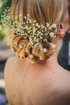 Updo Hairstyle With Baby's Breath | Knot2ShabbyDesigns | The Blooming Corner | Yes, Dear. Studio https://www.theknot.com/marketplace/yes-dear-studio-san-diego-ca-770411
