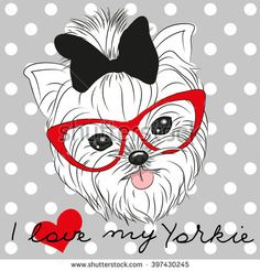 Ambesonne Yorkie Pet Mat for Food and Water, Tilted Head Terrier I Love My Yorkie Red Nerd Glasses Love Heart Polka Dots, Rectangle Non-Slip Rubber Mat for Dogs and Cats, Black White Red - Dog Store Yorkshire Terrier, Yorkies, Teacup Yorkie, Pet Mat, Modern Prints, Dog Grooming, Poodle Grooming, Cartoon Images, Dog Bowls