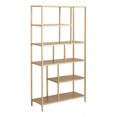 Crafted of metal with a brushed finish in refined antique gold, our exclusive Aaliyah bookshelf features five shelves arranged into a striking tableau. Aaliyah, Gold Bookshelf, Bookshelves, Modern Bookshelf, Bookshelf Ideas, Home Depot, Cow Print Fabric, Home Office Furniture, Entryway Furniture