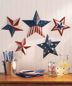 Amazon.com: Patriotic Wall Decor - Set of 5 Metal, Eye-Catching Painted Stars (3-D): Home & Kitchen