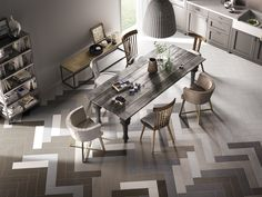 Cooperativa Ceramica Imola produces floor and wall coverings in porcelain stoneware suitable for both interior and exterior for residential and commercial Wood Parquet, Parquet Flooring, Floors, Floor Design, Tile Design, Cafe Interior, Modern Interior, Rustic Dinner Tables, Table And Chairs