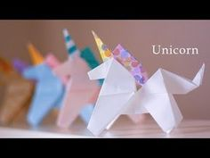 fácil ユニコーンの折り方★☆How to make an origami Unicorn 【Origami Tutor. How to make an origami Unicorn 【Origami Tutorial】 Origami 3d, Origami Design, Dragon Origami, Origami Boot, Origami Star Box, Origami Wedding, Origami Butterfly, Useful Origami, Paper Crafts Origami