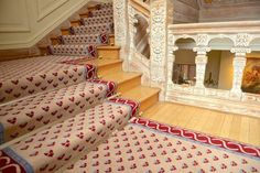 Stark recreation of the original fleur de lye design in the French Embassy. Interior Design Projects, Home Decor, Stairs, Animal Print Rug