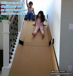 Si vos enfants ont encore besoin de se dépenser, pas besoin de leur acheter un nouveau jouet. Fabriquez-leur un toboggan pour la maison en quelques minutes. Ce n'est pas cher, même gratuit !  Découvrez l'astuce ici : http://www.comment-economiser.fr/astuce-toboggan-pas-cher-maison.html?utm_content=bufferaa7d0&utm_medium=social&utm_source=pinterest.com&utm_campaign=buffer