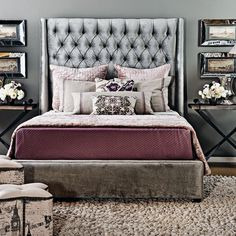 love this headboard Comfy Bedroom, Master Bedroom, Bedroom Decor, Bedroom Office, Bedroom Ideas, Beautiful Home Designs, Beautiful Bedrooms, House Design, Decorating