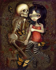 I'm Almost With You skeleton gothic art print by by strangeling. , via Etsy.