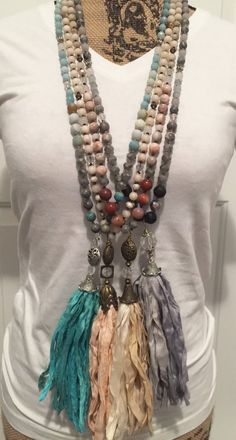Hand knotted gemstone necklace with Sari silk tassel. Looks fabulous with any outfit! Good Luck Necklace, Boho Necklace, Gemstone Necklace, Dainty Diamond Necklace, Diamond Cross Necklaces, Tassel Jewelry, Textile Jewelry, Jewellery Box, Tiffany Jewellery