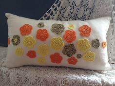 Handmade Crochet Decorative Cushion, Pillow in orange/yellow/brown on Etsy, 204,65kr