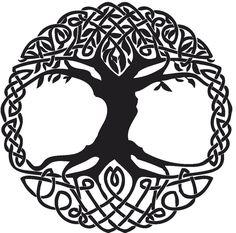 Black Celtic Knot Tree Tattoo Stencil