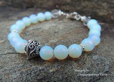 Healing Crystals Opalite Bracelet Iridescent Bracelet Amethyst /& Opalite Bracelet: Healing Stones Raw Amethyst Positive Energy