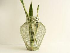 Sage Green  Metal Wire Vase by thisOtherthing on Etsy, $24.99