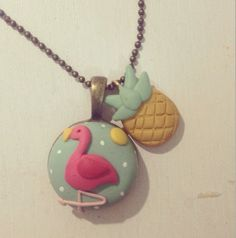 Flamingo and pineapple necklace - handmade to order by Clay