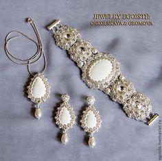 Купить EGOISTE №92 - Свадебные серьги, браслет и кулон IVORY LUXE II - белый, Сваровски