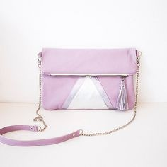Pink Silver Leather Clutch // Lavender Sorbet by gmaloudesigns