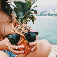 bikini, blue, food, fruit, girl, ocean, pineapple, summer, sunglasses, tropical, tumblr, ⓟⓐⓡⓐⓓⓘⓢⓔ, beach