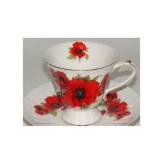 Red Poppy Tea Cup