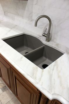 Calcutta Gold Marble Countertop in Our Showroom here in San Antonio, TX - Kitchen - Blanco Granite Composite Sink - Truffle - Kitchen Design - Home Decor - Home Remodel