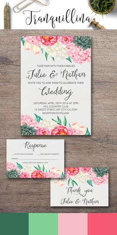 Succulent Wedding Invitation, Printable Floral Wedding Invitations, Wedding Stationery, Boho Wedding Ideas. Pink & Green Weddings, Watercolor hydrangea & peony Wedding invitation suite. For more bohemian inspired invitations follow the link: tranquillina.etsy.com