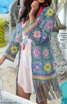 Crochet Coat, Crochet Cardigan Pattern, Crochet Jacket, Crochet Blouse, Easy Crochet Patterns, Crochet Clothes, Tutorial Crochet, Free Crochet, Knitting Patterns
