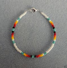 Details about Turquoise Beaded Bracelet Tribal Boho Native American Made Mens Womens - Perlen Schmuck Bracelet Crafts, Seed Bead Bracelets, Seed Bead Jewelry, Cute Jewelry, Beaded Jewelry, Handmade Jewelry, Diy Jewelry, Handmade Bracelets, Seed Bead Necklace