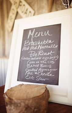 Country Wedding Menu
