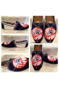 New York Yankees womans shoes, custom bling Toms, hotfix rhinestones , yankees apparel free shipping on Etsy, $130.00