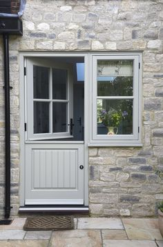 "Timber Cottage Flush Casement Windows, Entrance Door, Stable Door and French Doors in ""French Grey"", Oxfordshire village. Cottage Front Doors, Cottage Windows, House Front Door, Country Front Door, Cottage Style Doors, Front Door Porch, Cottage Porch, Design Exterior, Door Design"