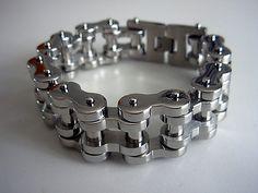 """Biker bracelet - Stainless steel 9"""" chain bracelet - Mens bike chain bracelet - Biker jewelry - Chunky biker jewellery - stainless steel by Festivalfashionstall on Etsy"""