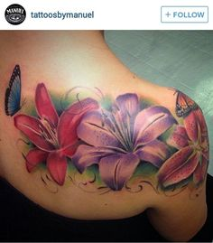 Colored flower tattoos - All About Tropical Flower Tattoos, Pretty Flower Tattoos, Lily Flower Tattoos, Tattoos For Women Flowers, Beautiful Tattoos, Butterfly Tattoos, Tattoos Skull, Up Tattoos, Baby Tattoos