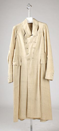 Coat  Date: early 1820s Culture: European (probably) Medium: linen Dimensions: L. at center back: 47 ½ in. (120.5 cm).