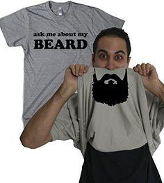 Amazon.com: Ask Me About My Beard T Shirt Funny Facial Hair Flip Up Tee S: Clothing