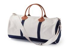 Round Canvas Duffel, Natural/Navy CB Station Personalized Totes at Farmbasket