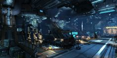 Arcadia Moon Colony: Maintenance Bay by wester Space City, Sci Fi Environment, Fantasy Pictures, Science Fiction Art, Environmental Design, Sci Fi Fantasy, Colonial, Concept Art, Scenery