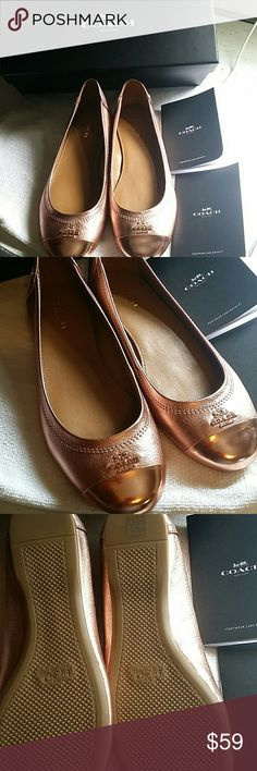 Coach shoes Coach shoes rose gold color leather rubber soles gold LETTERING and coach logo in front NEW Coach Shoes Flats & Loafers