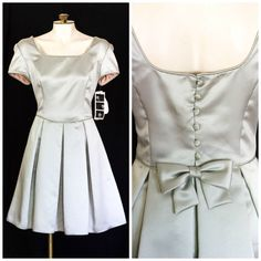 Fit and flare party dress in silver satin with short sleeves SIZE 10 NEW with tags by TimeTravelFashions on Etsy