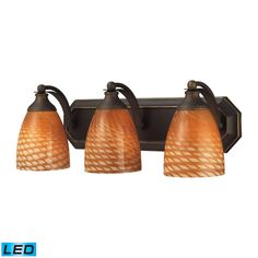 Bath And Spa 3 Light LED Vanity In Aged Bronze And Cocoa Glass 570-3B-C-LED