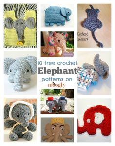 Elephants in Crochet! 10 free #crochet elephant patterns on Mooglyblog.com!