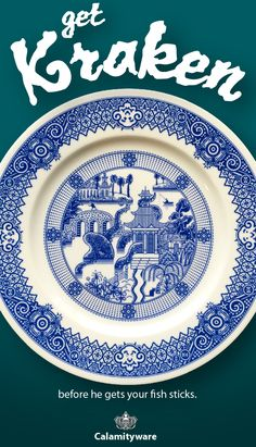 Calamityware produces fine porcelain willow-style plates with subtle, silly, calamities like pirates, UFOs, giant robots and the cold tickle of inquisitive tentacles.