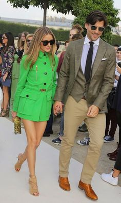 Olivia Palermo and Johannes Huebl arrive at the Valentino show: