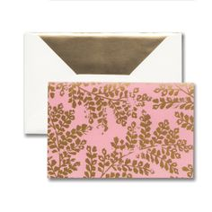 Magenta Fern: A metallic pattern makes a bold statement on this note. Gold foil takes a hit of distress and makes a splash on rich hues, creating a look both sharp and current.